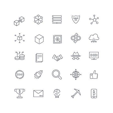 Line icons set. Blockchain pack. Vector batch Ilustrace