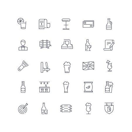 Line icons set. Pub pack. Vector illustration Ilustrace