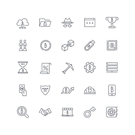Line icons set. Bitcoin pack. Vector illustration