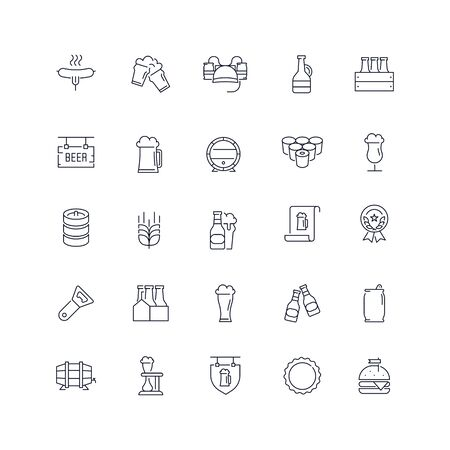 Line icons set. Beer pack. Vector illustration