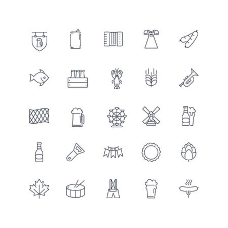 Line icons set. Octoberfest pack. Vector batch