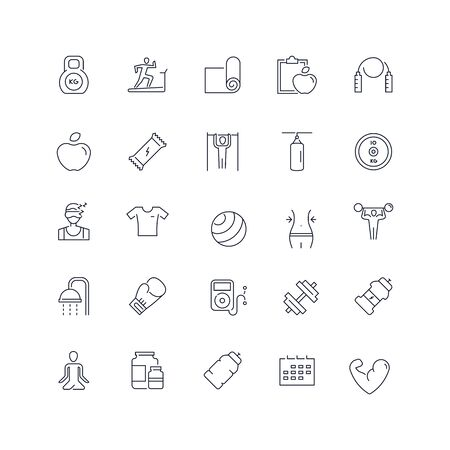 Line icons set. Gym pack. Vector illustration