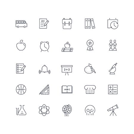 Line icons set. School pack. Vector illustration.Web and Ui-UX Collection