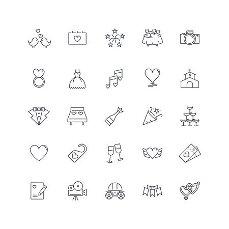 Line icons set. Wedding pack. Vector illustration with marriage elements