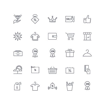 Line icons set. Sale pack. Vector illustration.Web and Ui-UX Collection Ilustrace