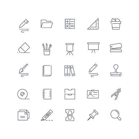 Line icons set. Stationery pack. Vector illustration.Web and Ui-UX Collection
