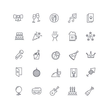 Line icons set. Party pack. Vector illustration.Web and Ui-UX Collection Ilustrace