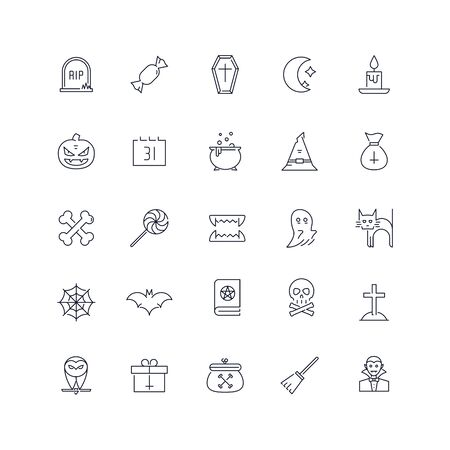 Line icons set. Halloween pack. Vector illustration.Web and Ui-UX Collection