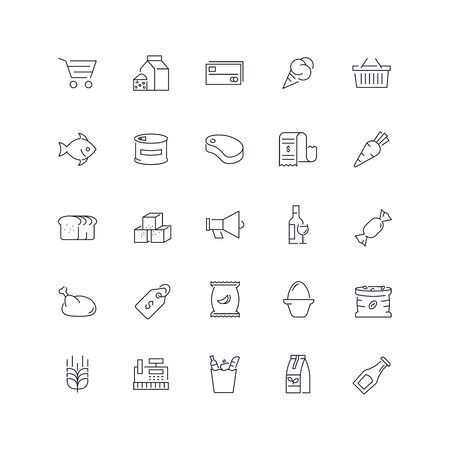 Line icons set. Grocery pack. Vector illustration.Web and Ui-UX Collection Ilustrace