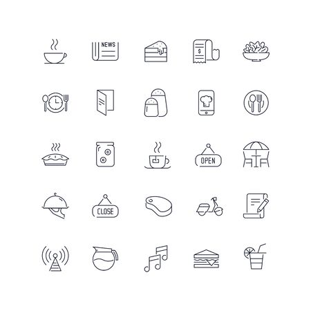 Line icons set. Cafe pack. Vector illustration.Web and Ui-UX Collection Vettoriali