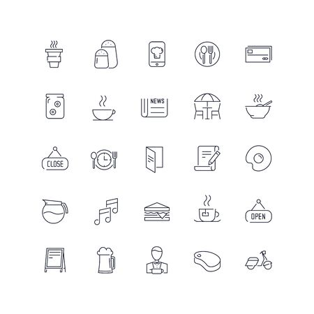Line icons set. Cafe pack. Vector illustration.Web and Ui-UX Collection Ilustrace