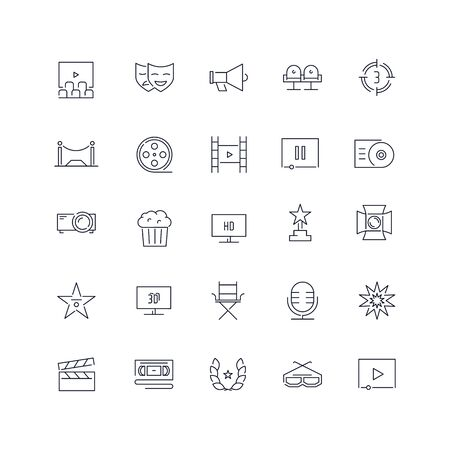 Line icons set. Cinema pack. Vector illustration.Web and Ui-UX Collection