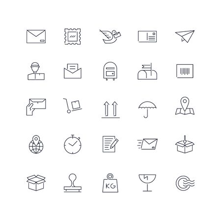 Line icons set. Post service pack. Vector illustration.Web and Ui-UX Collection Ilustrace