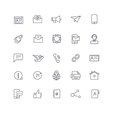 Line icons set. Contact us pack. Vector illustration.Web and Ui-UX Collection  Ilustrace