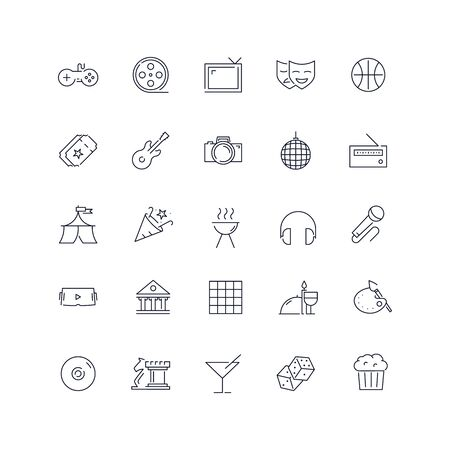 Line icons set. Entertainment pack. Vector illustration.Web and UX Collection