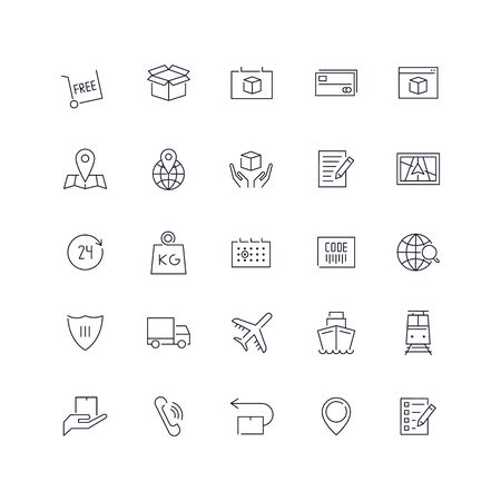 Line icons set. Delivery pack. Vector illustration.Web and Ui-UX Collection