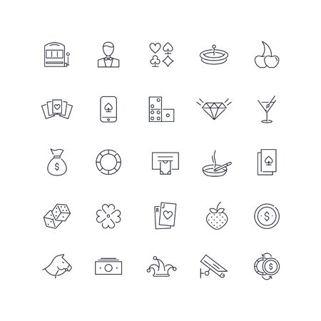 Line icons set. Casino pack. Vector illustration.Web and Ui-UX Collection