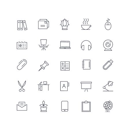 Line icons set. Workplace pack. Vector illustration.Web and Ui-UX Collection
