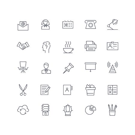 Line icons set. Office. Vector illustration.Web and Ui-UX Collection