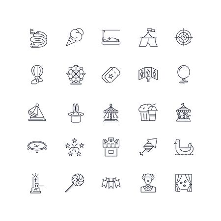 Line icons set. Amusement park pack. Vector illustration.Web and Ui-UX Collection