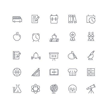 Line icons set. School pack. Vector illustration Ilustrace