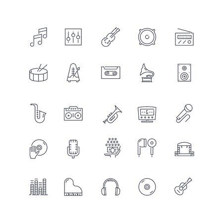 Line icons set. Music pack. Vector illustration