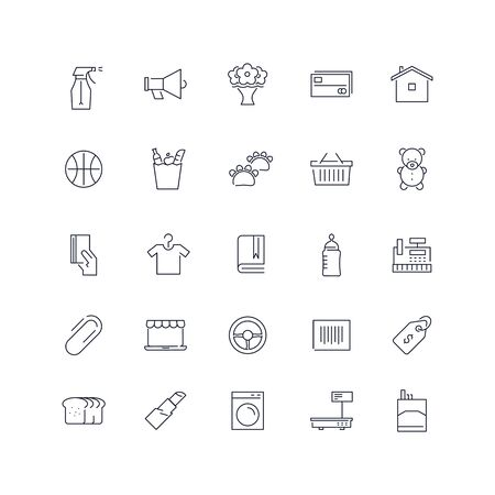 Line icons set. Market pack. Vector illustration. Web and Ui-UX Collection