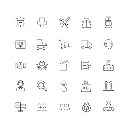 Line icons set. Logistics pack. Vector batch Ilustrace