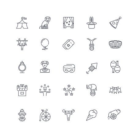 Line icons set. Circus pack. Vector illustration