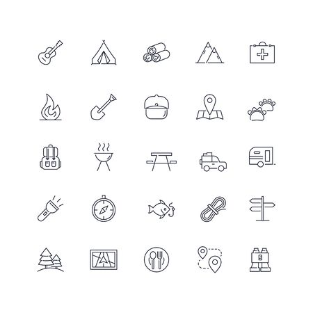 Line icons set. Camping pack. Vector illustration Ilustrace