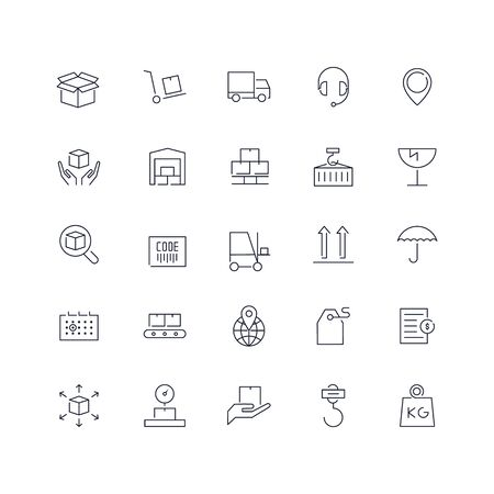 Line icons set. Logistics pack. Vector illustration.Web and Ui-UX Collection