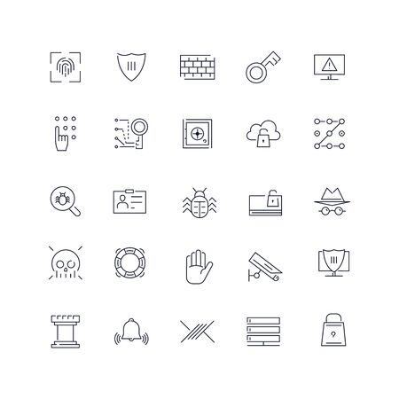 Line icons set. Security pack. Vector illustration.Web and Ui-UX Collection