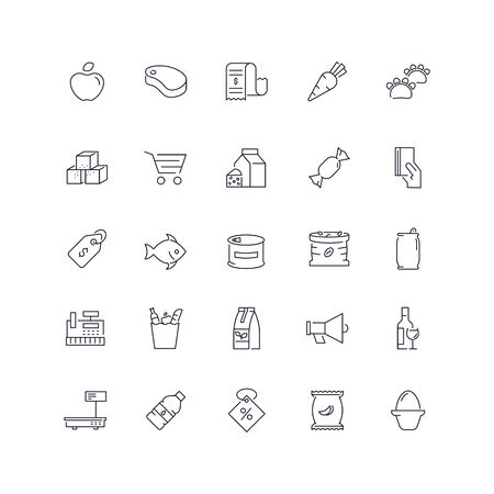 Line icons set. Grocery pack. Vector illustration.Web and Ui-UX Collection