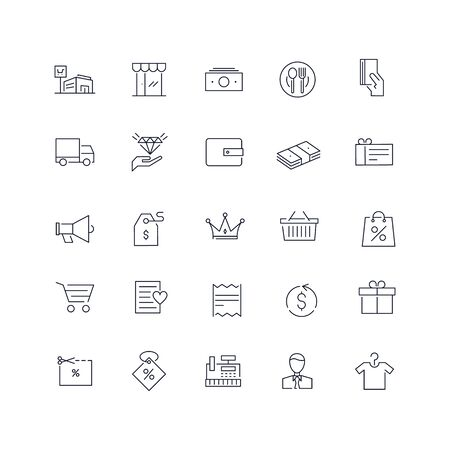 Line icons set. Shopping pack. Vector illustration.Web and Ui-UX Collection