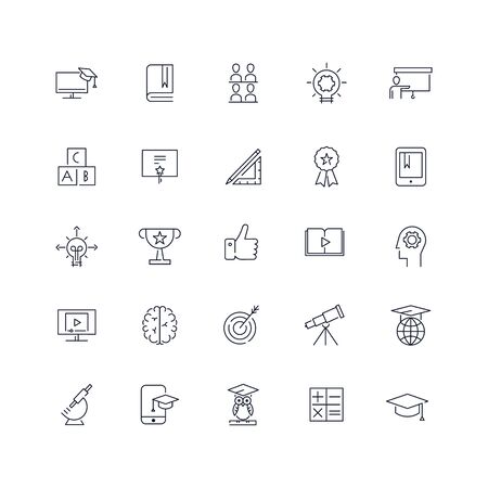 Line icons set. Education pack. Vector illustration.Web and Ui-UX Collection  Ilustração