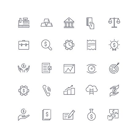 Line icons set. Finance pack. Vector illustration. Web and Ui-UX Collection