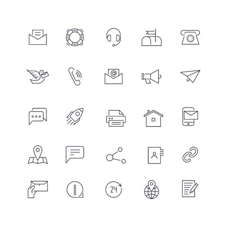 Line icons set. Contact us pack. Vector