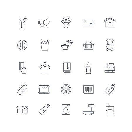 Line icons set. Market pack. Vector batch Ilustrace
