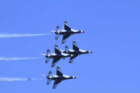 US Air Force F-16s flying in formation at the Chicago Air Show 2011