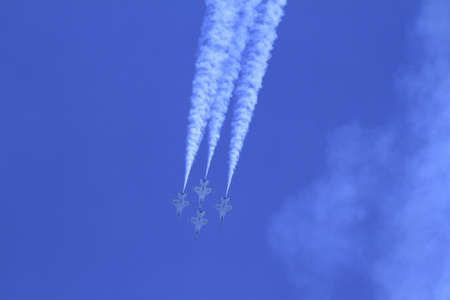 US Air Force F-16s flying in formation at the Chicago Air Show 2011 Stock Photo - 14628478