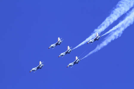 US Air Force F-16s flying in formation at the Chicago Air Show 2011 Stock Photo - 14628474
