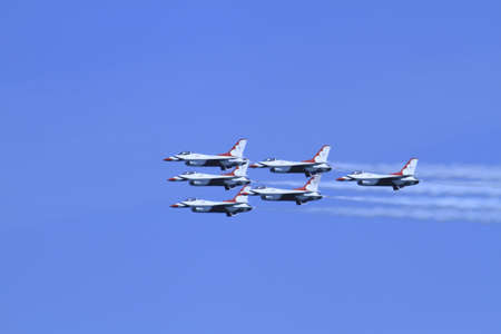 US Air Force F-16s flying in formation at the Chicago Air Show 2011 Stock Photo - 14628479