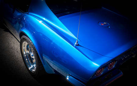 blue american classic car on black background Stock Photo