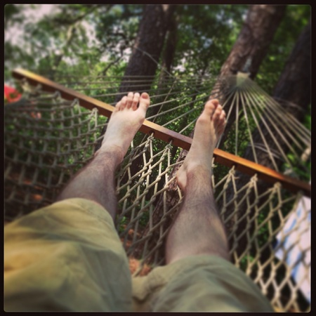 Just chilling on a hammock.