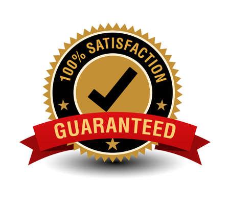 Powerful 100% satisfaction guarantee gold badge with tick mark. Ilustração