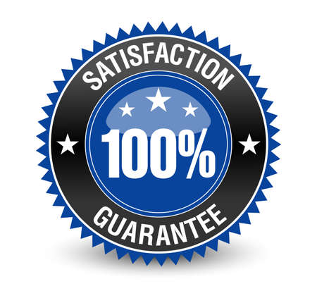 Powerful, reliable, trustworthy 100% satisfaction guarantee badge. Isolated on white background. Ilustração