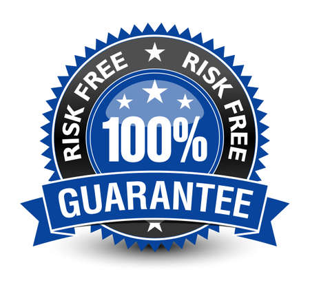 100% risk free guarantee with blue ribbon on top, isolated on white background.