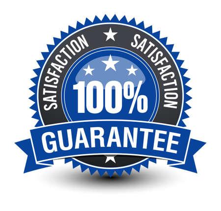Powerful 100% satisfaction guarantee blue badge .
