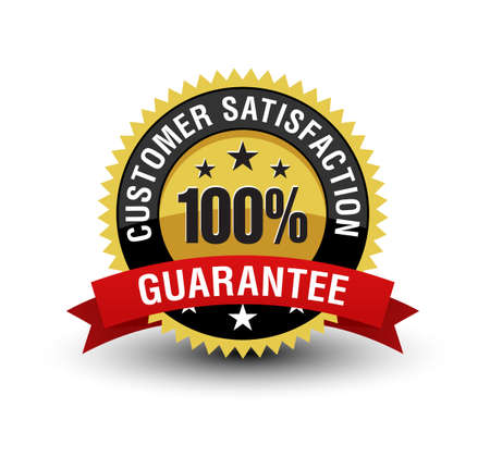 Powerful Golden badge 100% customer satisfaction guarantee badge with red ribbon isolated on white background.