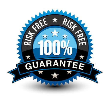 Strong blue colored 100% risk free guarantee badge with sleek ribbon isolated on white background.